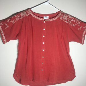 Sundance Coral Embroidered Button Up 100% Cotton